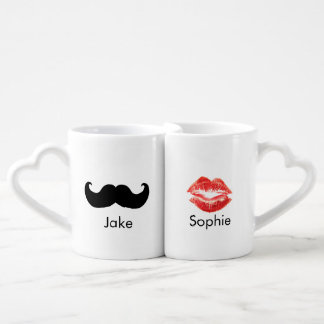 Custom name Mustache and Lips mug pair Lovers Mug Sets