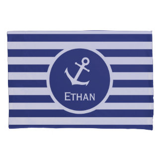Custom Name Nautical Blue and White Striped Pillowcase