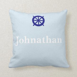 Custom Name Nautical Grey Throw Pillow
