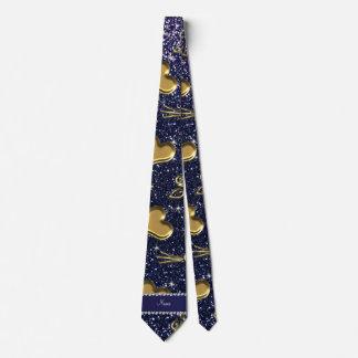 Custom name navy blue glitter gold roses hearts tie