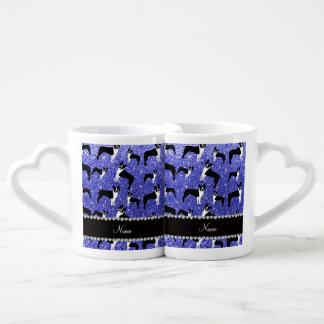 Custom name neon blue glitter boston terrier couple mugs