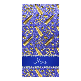 Custom name neon blue glitter gold lipstick custom photo card
