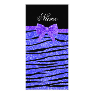 Custom name neon blue glitter zebra stripes bow customized photo card