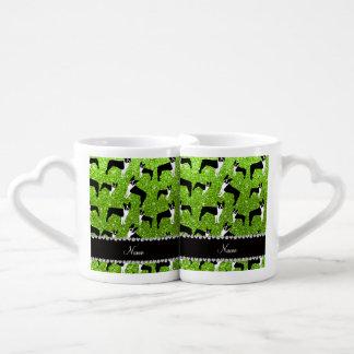 Custom name neon green glitter boston terrier couple mugs