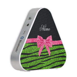 Custom name neon green glitter zebra stripes bow