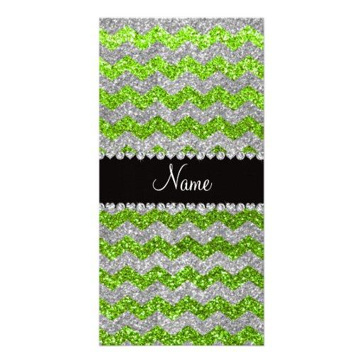 Custom name neon green silver glitter chevrons photo card template