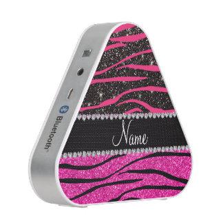 Custom name neon hot pink and black zebra stripes bluetooth speaker