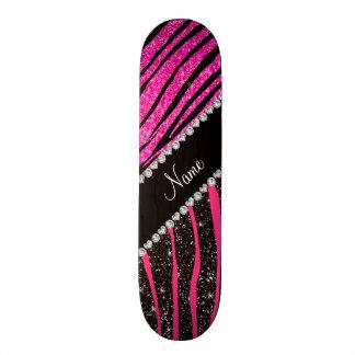 Custom name neon hot pink and black zebra stripes skate decks