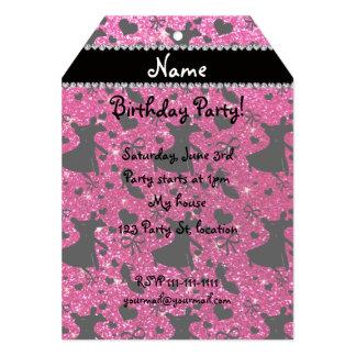 Custom name neon hot pink glitter ballroom dancing invites
