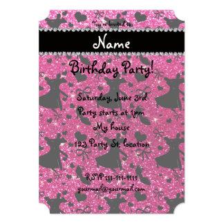 Custom name neon hot pink glitter ballroom dancing cards