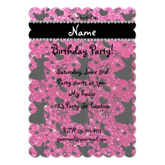Custom name neon hot pink glitter ballroom dancing announcement cards