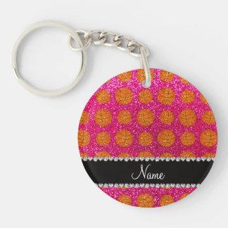 Custom name neon hot pink glitter basketballs keychains