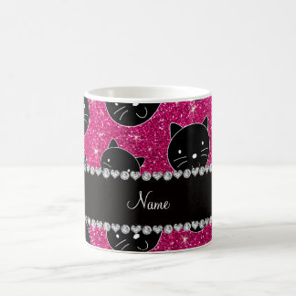 Custom name neon hot pink glitter black cat faces coffee mug