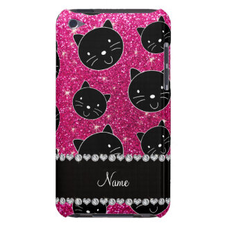 Custom name neon hot pink glitter black cat faces iPod touch cover