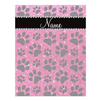 Custom name neon hot pink glitter black dog paws custom flyer