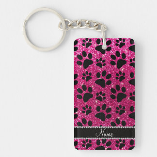 Custom name neon hot pink glitter black dog paws rectangular acrylic key chains