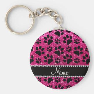 Custom name neon hot pink glitter black dog paws keychain