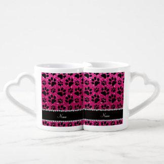 Custom name neon hot pink glitter black dog paws couples mug