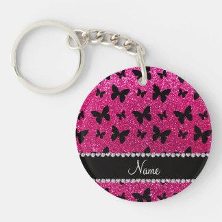 Custom name neon hot pink glitter butterflies key chains