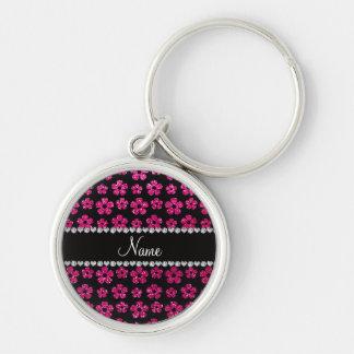 Custom name neon hot pink glitter flowers keychain