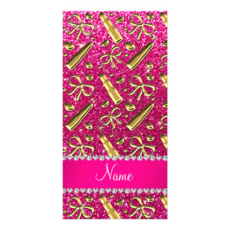 Custom name neon hot pink glitter gold lipstick photo cards