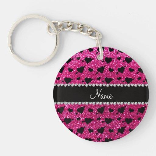 Custom name neon hot pink glitter hearts arrows acrylic key chains