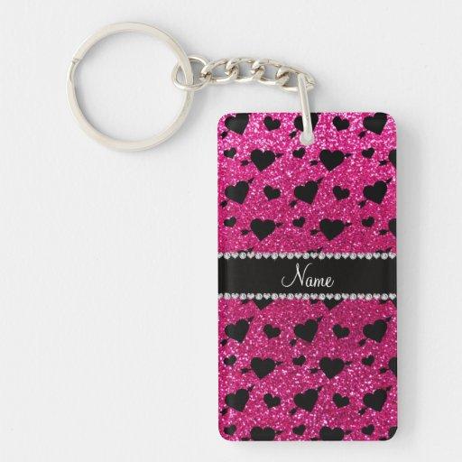 Custom name neon hot pink glitter hearts arrows rectangular acrylic keychain