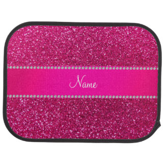 Custom name neon hot pink glitter hot pink stripe car mat