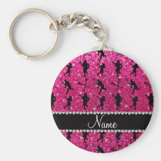 Custom name neon hot pink glitter lacrosse players basic round button key ring