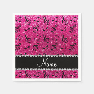 Custom name neon hot pink glitter music notes disposable napkin