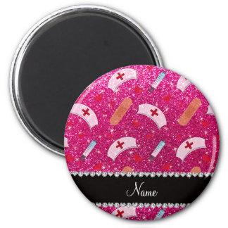 Custom name neon hot pink glitter nurse hats heart 6 cm round magnet
