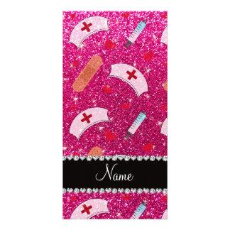 Custom name neon hot pink glitter nurse hats heart picture card