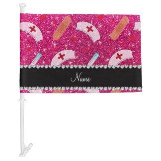 Custom name neon hot pink glitter nurse hats heart car flag
