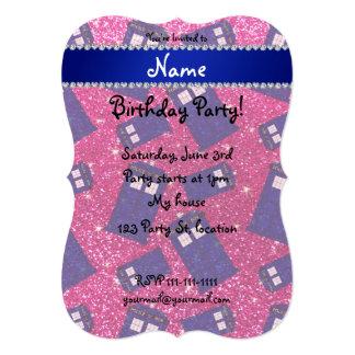 "Custom name neon hot pink glitter police box 5"" x 7"" invitation card"
