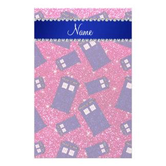 Custom name neon hot pink glitter police box stationery design