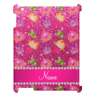 Custom name neon hot pink glitter princess frogs cover for the iPad 2 3 4