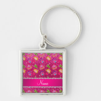 Custom name neon hot pink glitter princess frogs key chains