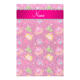 Custom name neon hot pink glitter princess frogs stationery