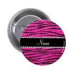 Custom name neon hot pink glitter zebra diamonds button