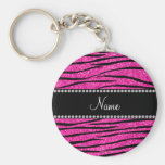 Custom name neon hot pink glitter zebra stripes basic round button key ring