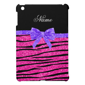 Custom name neon hot pink glitter zebra stripes iPad mini case