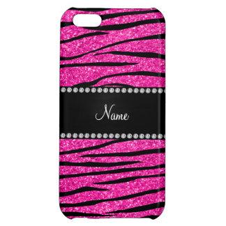 Custom name neon hot pink glitter zebra stripes iPhone 5C covers