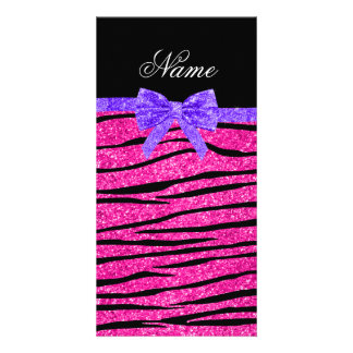Custom name neon hot pink glitter zebra stripes personalized photo card