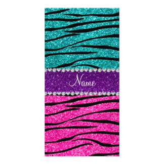 Custom name neon hot pink turquoise zebra stripes picture card