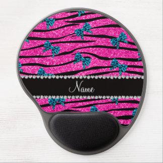 Custom name neon hot pink zebra stripes blue bows gel mouse mats
