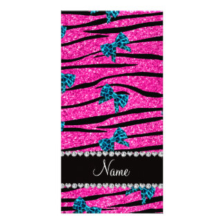 Custom name neon hot pink zebra stripes blue bows photo greeting card