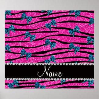 Custom name neon hot pink zebra stripes blue bows print