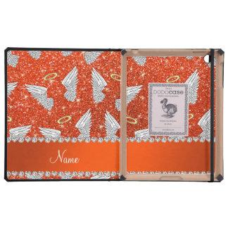 Custom name neon orange glitter angel wings iPad case