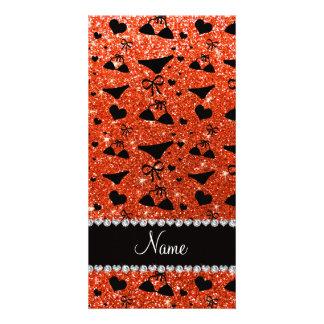 Custom name neon orange glitter bikini bows photo greeting card