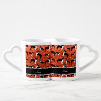 Custom name neon orange glitter boston terrier lovers mug